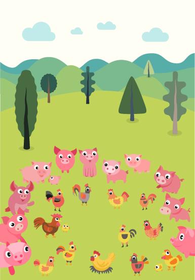 Asamblea de cerdos y gallinas